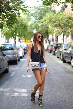 Top: Zara  Shorts: One Teaspoon  Sandals: Mango  Bag: Proenza Schouler  Sunglasses: Miu Miu