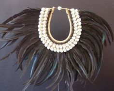 PAPUA NEW GUINEA Fashion statement ... Interior design shell feather collar from Indonesia. Mounted on a stand. Organic, natural. Oceanic by AkerArts on Etsy