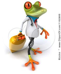 Clipart 3d Doctor Springer Frog Pulling Rolling Luggage 2 - Royalty Free CGI Illustration by Julos