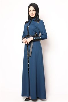 Boydan Düğmeli Deri Detay Tesettür Elbise Petrol NB 2414