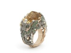 Monkey collection, Big Stone Monkey Ring, 18ct rose gold,18 ct yellow gold, sterling silver, brown diamonds 1 and green tsavorites