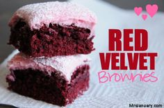 Easy, delicious and very fudgy brownies that are red velvet! Perfect any time of the year, but are especially fun for Valentine's Day.