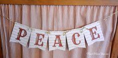 "Free Printable ""PEACE"" on Sheet Music Banner"