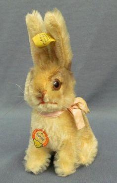 Vintage Easter bunny ~ Germany ~ Mini Steiff Sonny Button & Tags // Photo via Ebay