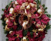 Christmas Wreath, Holiday Wreath, Elegant Décor, Designer Wreath, Victorian Poinsettia Wreath