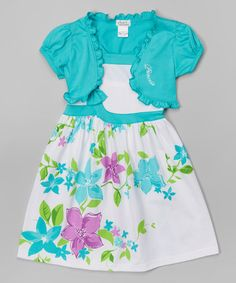 Love this Teal & White Floral Dress & Shrug - Toddler & Girls by Littoe Potatoes on #zulily! #zulilyfinds