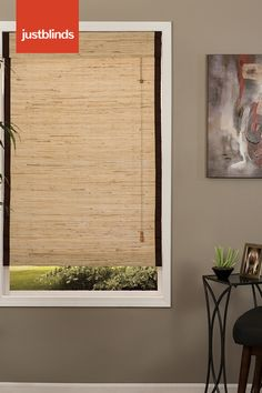 Woven Wood Shades from Just Blinds give your windows a textured farmhouse look. Choose from a wide variety of colors and weaves. Get this look with Deluxe Natural Weave Bleached with Edge Binding in Black. Just Blinds, Blinds For Windows, Window Blinds, Window Shutters, Farmhouse Window Treatments, Window Treatments Living Room, Woven Wood Shades, Bamboo Shades, Bamboo Blinds