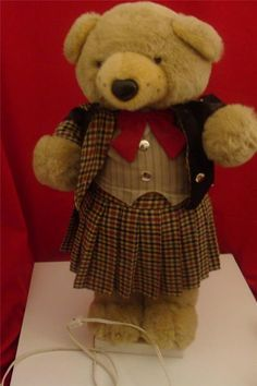 "Telco 27"" TEDDY BEAR Irish Kilt Animated Christmas Motionette Figure Display"