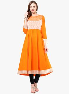 Buy Nayo Orange Embroidered Kurti for Women Online India, Best Prices, Reviews | NA976WA00DAXINDFAS