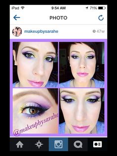 Purple and yellow spring or summer makeup.
