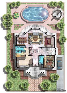 اضغط هنا لغلق أواضغط وحمل للصورة المؤثّرة. Square House Plans, Free House Plans, House Layout Plans, House Layouts, Minimal House Design, Classic House Design, Home Map Design, Home Design Plans, Garden Design Plans