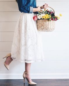 Ivory Floral Lace Skirt