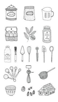Baking illustration by Ryn Frank Illustration Inspiration, Illustration Art, Baking For Beginners, Baking Muffins, Baking Cookies, Baking Videos, Baking With Kids, Food Illustrations, Christmas Baking