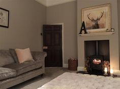 An inspirational image from Farrow and Ball ... Elephant's Breath on walls, Charlestone Grey behind stove