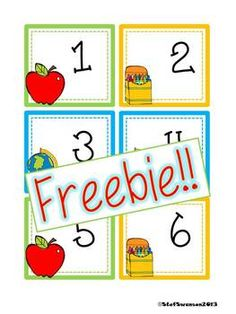 "FREEBIE Back to School Calendar Cards {ABCC Pattern}  This is a set of BACK to SCHOOL calendar cards numbers 1-31! Also included are 2013 and 2014 year cards! These cards are set up in an ""ABCC Pattern"" rotation! Click on the picture to see ALL calendar card freebies!  dreambigkinders.blogspot.com"