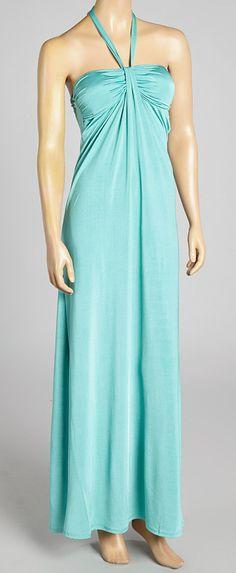 Blue Gathered Maxi Dress cute