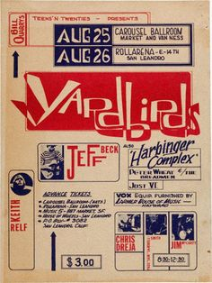 The Yardbirds 1965 concert poster, along with Jeff Beck