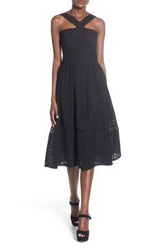 J.O.A. Lace Fit & Flare Midi Dress