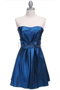 Royal Blue Dipped Neckline Short A-Line Classic Attire