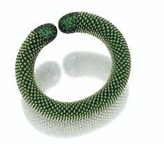 Tsavorite Garnet and Peridot Bead Bangle Bracelet, Hemmerle
