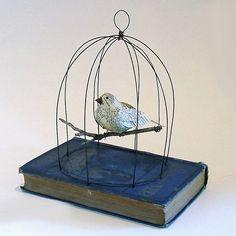 paper mache bird, home made cage--so cute!