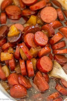 Glazed Hawaiian Kielbasa - Sprinkle Some SugarYou can find Kielbasa recipes for dinner and more on our website.Glazed Hawaiian Kielbasa - Sprinkle Some Sugar Sausage Recipes, Pork Recipes, Slow Cooker Recipes, Crockpot Recipes, Cooking Recipes, Grilling Recipes, Potato Recipes, Casserole Recipes, Pasta Recipes