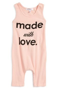Joah Love 'Finn - Made With Love' Sleeveless Romper (Baby Girls)