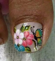 decoracion de uñas Pedicure Designs, Toe Nail Designs, Nail Polish Designs, Cute Nail Art, Beautiful Nail Art, Nails Only, Flower Nail Art, Nail Arts, Toe Nails
