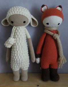LUPO the lamb & FIBI the fox made by Valeria B. / crochet patterns by lalylala