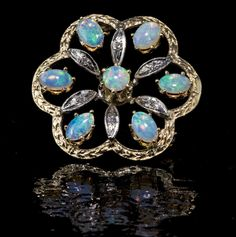 Opal and diamond pin