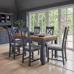Rustic Solid Oak and Painted Dining Sets - Extending Dining Table with 6 Chairs - Highgate Range - Oak Furnitureland Blue Dining Tables, Extendable Dining Table, Dining Room Table, Table And Chairs, Dining Chairs, Dining Sets, Dining Area, Blue Chairs, Oak Table