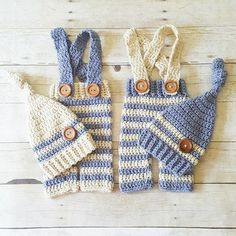 Crochet Baby Striped Pants Overalls Knot Hat Beanie Set Infant Newborn Baby Handmade Baby Shower Gift