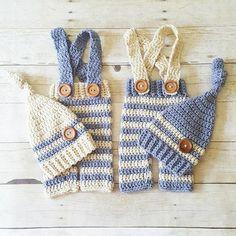 Crochet Baby Striped Pants Overalls Knot Hat Beanie Set Infant Newborn Baby Handmade Baby Shower Gift