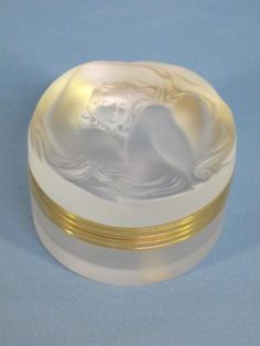 "LALIQUE CRYSTAL ""DAPHNE"" FROSTED POWDER BOX"