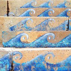 5x5 urban ocean waves minimalist art print (fine art photography, blue water, minimal photography, modern ocean decor)