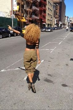 Blonde Natural Curly Hair Afro / Tattoo / Jeffrey Campbell Studded Spiked Heels / Camouflage Cargo Pants | Black Blonde