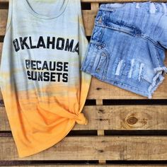 Oklahoma vibes. We love this look using one of our trendy Oklahoma tank tops