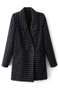 ROMWE Lapel Houndstooth Print Buttoned Grey Coat