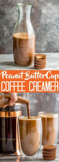 Homemade Peanut Butter Cup Coffee Creamer - will try with almond milk and leftover Halloween candy!