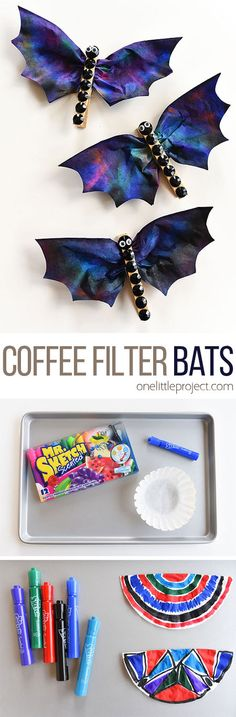 These coffee filter bats are such an easy Halloween craft to make with the kids! Theyre fun, spooky, simple to make and surprisingly beautiful! Theyd make great Halloween decorations! I love the black rhinestones! halloween crafts for kids Halloween Tags, Halloween Crafts For Kids, Halloween Activities, Crafts For Kids To Make, Holidays Halloween, Fall Crafts, Holiday Crafts, Halloween Decorations, Arts And Crafts