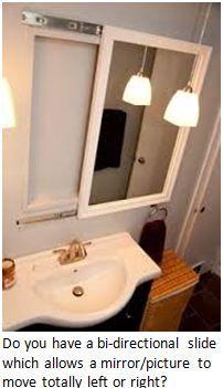 Mirror on drawer tracks for 'hidden' medicine cabinet Diy Bathroom Remodel, Bathroom, Sliding Mirror, Bathroom Storage Cabinet, Bathroom Storage, Diy Remodel, Mirror Cabinets, Remodel Bedroom, Bathroom Mirror