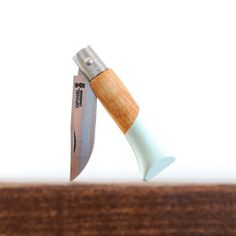 Handpainted Opinel Wooden Handle Tiny Folding Knife, Charlie in Seafoam