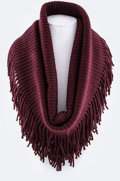 Francis Fringe Scarf Wine colored scarf with fringe detail www.hawkandholly.com Hawk and Holly - Infinity scarf - Also comes in Tan