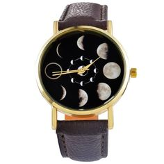 Do you like astronomy and Fashion? We have the perfect gift for you, a beautiful lunar phase printed watch for you. Band Length: 23.5cm Dial Diameter : 37mm Band Material: Vegan leather Waterproof : N