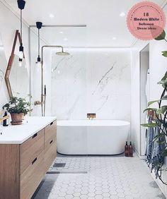 And bath, master bathroom tub, bathtub shower combo, vanity bathroom, moder Best Bathroom Designs, Modern Bathroom Design, Bathroom Interior Design, Bath Design, Modern Bathrooms, Modern Design, White Bathrooms, Rustic Design, Bathroom Ideas White