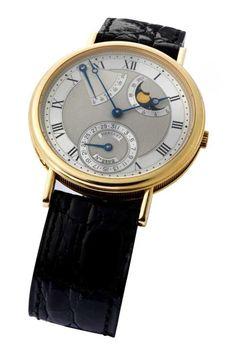 BREGUET Kalender Expertise vorhanden. In 18 kt Gold, Durchmesser: 36 mm. Silbernes guillochiertes Zi — Armbanduhren