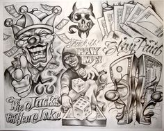 The Most Awesome Boog Tattoo artist intended for Tattoo Inspire Boog Tattoo, Chicanas Tattoo, Clown Tattoo, Money Tattoo, Inca Tattoo, Chicano Art Tattoos, Chicano Drawings, Gangsta Tattoos, Body Art Tattoos