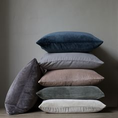 Double sided velvet cushions in teal, grey, nude, green, oyster and dark grey Cushions On Sofa Color Schemes, Cushions For Grey Sofa, Teal Cushions, Teal Sofa, Sofa Colors, Velvet Cushions, Grey Velvet Sofa, Living Room Cushions, Living Room Color Schemes