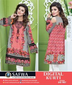 bd22c74b07 DG987 - SAFWA DIGITAL COTTON PRINT KURTI COLLECTION -SHIRT KURTI KAMEEZ