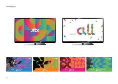New graphic style guide for JTBC (studio fnt, Seoul), one of the leading broadcasting companies in Korea. The existing identity elements, the logotype and identity colours were disassembled and reassembled into four colour units. All units share an identical form and a dynamic appearance, visually representing the content of one of the broadcasting categories. As building blocks of a flexible design system, the colour units can be used in multiple compositions.